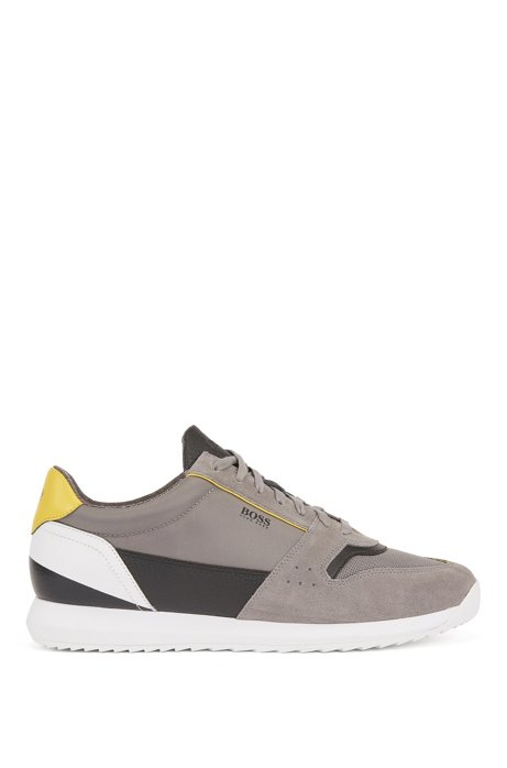 Running-style sneakers in mixed materials, Open Grey