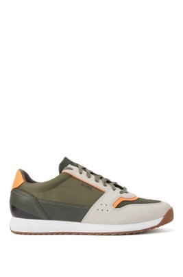 Running-style sneakers in mixed materials, Light Green