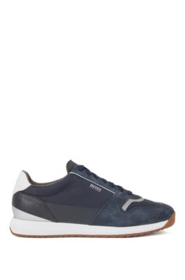 Running-style sneakers in mixed materials, Dark Blue