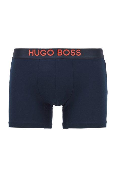 Color-contrast boxer briefs in stretch-cotton piqué, Dark Blue