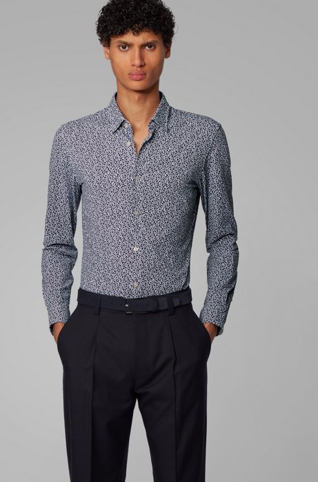 Printed slim-fit shirt in a recycled-fabric blend, Dark Blue