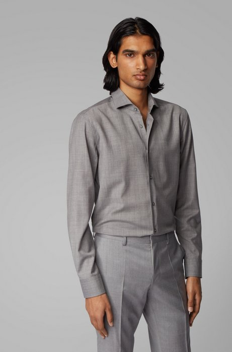 Slim-fit shirt in traceable virgin wool, Silver
