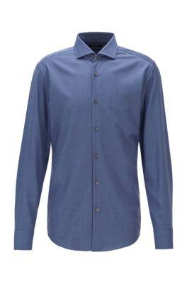 Slim-fit shirt in traceable virgin wool, Light Blue
