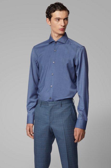 Slim-fit shirt in traceable virgin wool, Open Blue