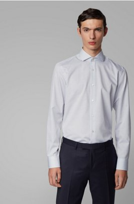 Slim-fit shirt in structured Egyptian cotton, Light Blue