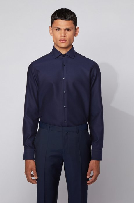Regular-fit shirt in structured cotton with spread collar, Dark Blue