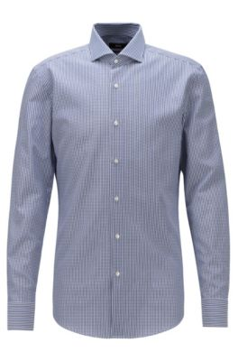Slim-fit shirt in cotton with micro squares pattern, Dark Blue