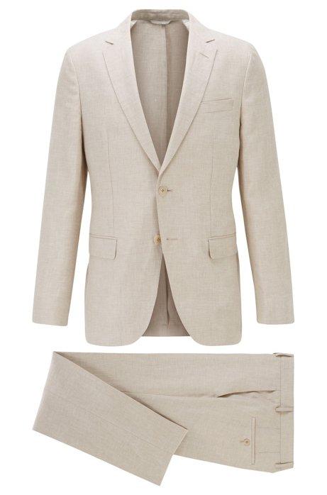 Vegan slim-fit suit in Italian linen, Light Beige