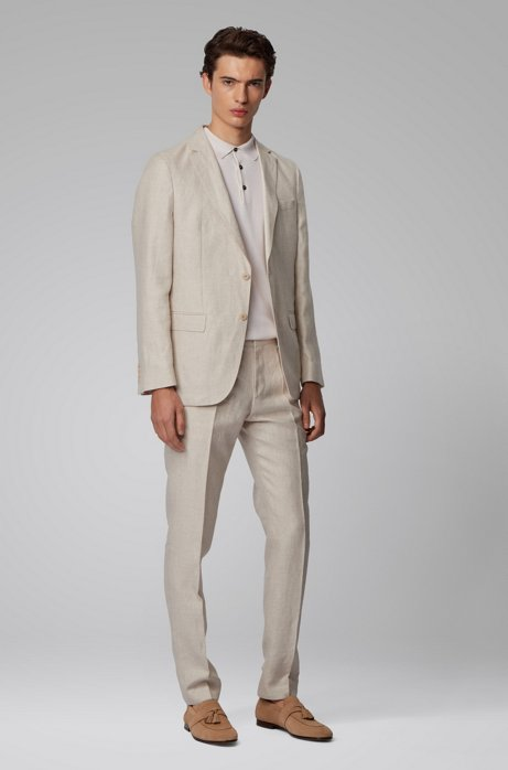 Vegan slim-fit suit in Italian linen, Light Beige