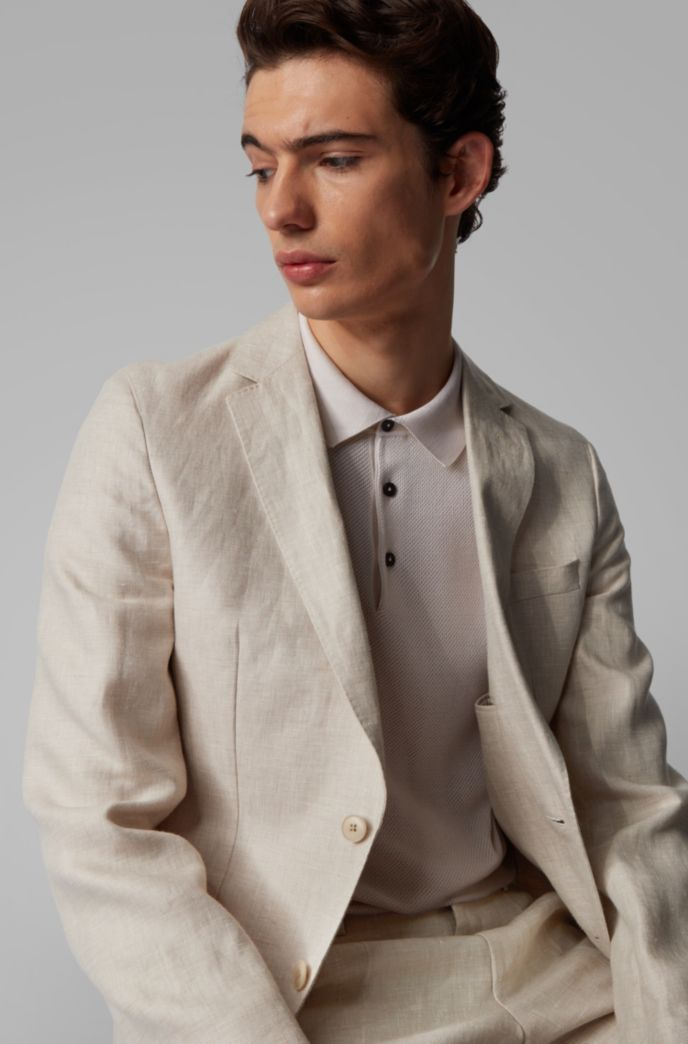 Vegan slim-fit suit in Italian linen