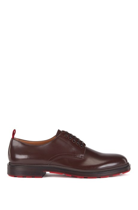 Derby shoes in calf leather with contrast outsole base, Dark Brown