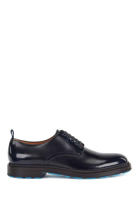 Derby shoes in calf leather with contrast outsole base, Dark Blue