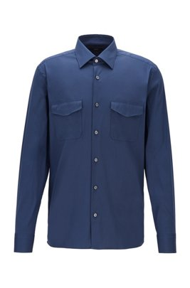 Relaxed-fit cotton-blend shirt with twin chest pockets, Light Blue