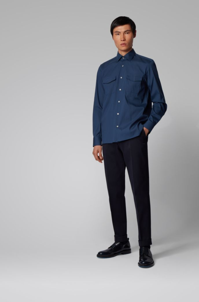 Relaxed-fit cotton-blend shirt with twin chest pockets
