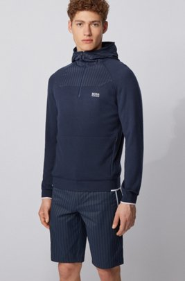 Hooded sweater with placement pinstripe fabric, Dark Blue