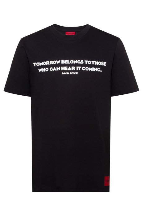 Crew-neck cotton-jersey T-shirt with slogan print, Black