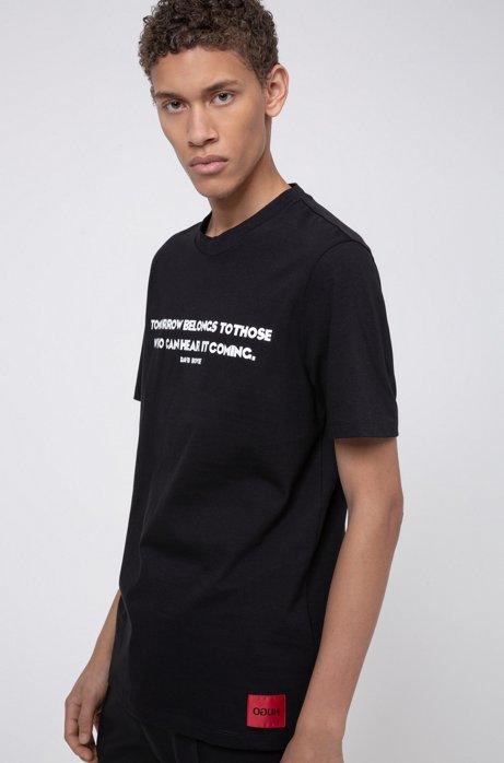 Crew-neck cotton-jersey T-shirt with slogan print, Black
