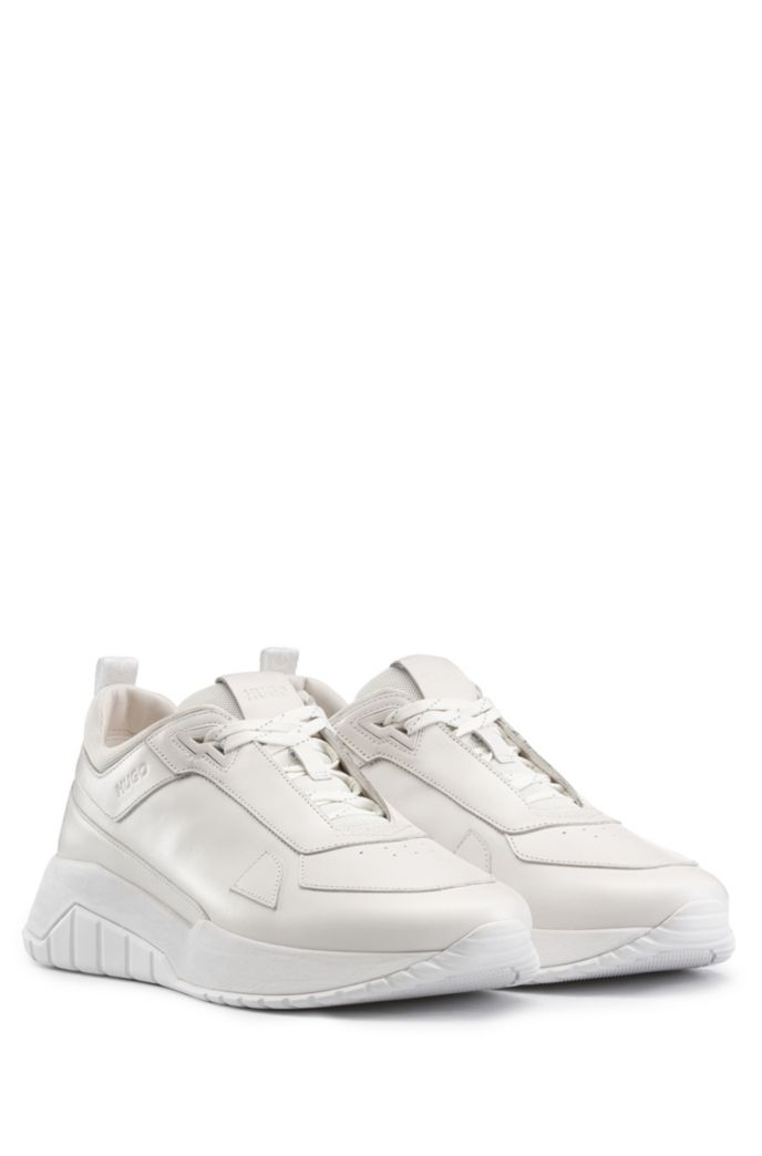 Running-style sneakers in tonal nappa leather and mesh
