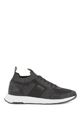 Running-style sneakers in mixed materials with knitted sock, Black