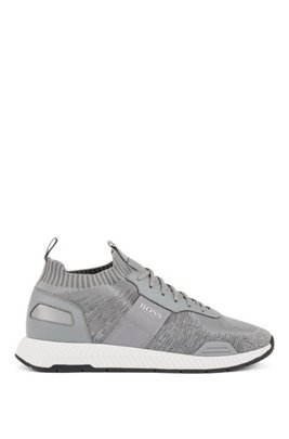 Running-style sneakers in mixed materials with knitted sock, Light Grey