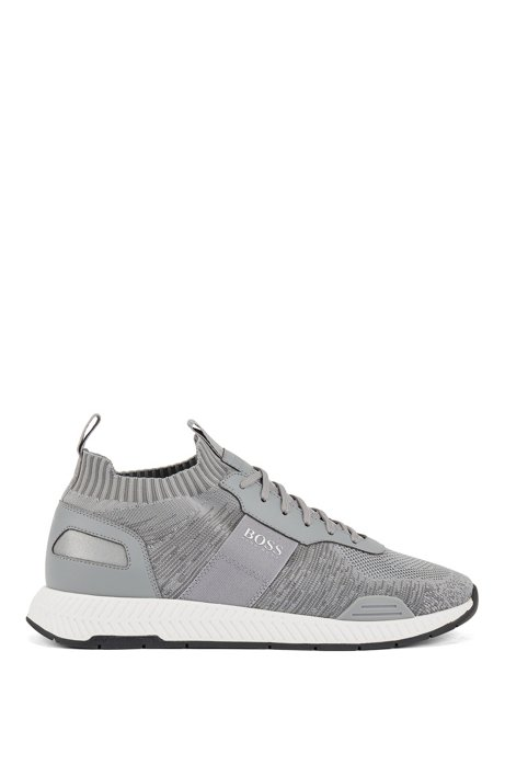 Running-style sneakers in mixed materials with knitted sock, Open Grey