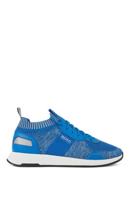 Running-style sneakers in mixed materials with knitted sock, Light Blue