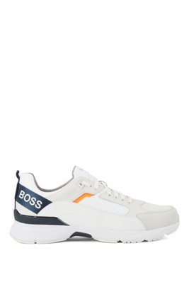 Low-top sneakers in mixed materials with branded webbing, White