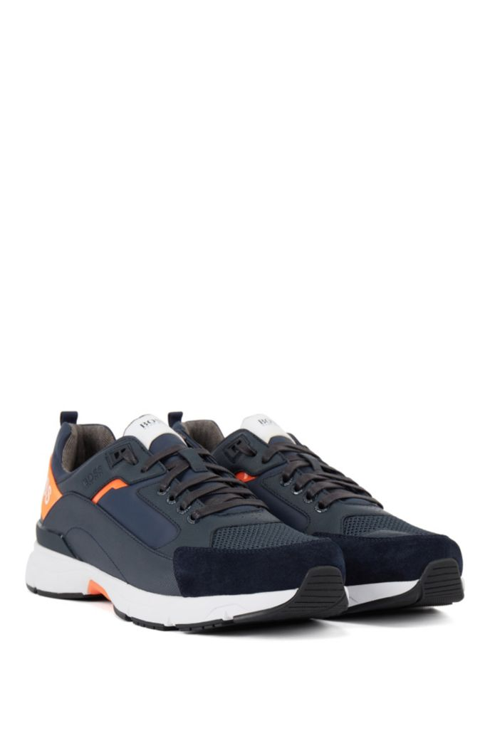 Low-top sneakers in mixed materials with branded webbing