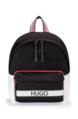 Logo backpack in nylon gabardine, Black