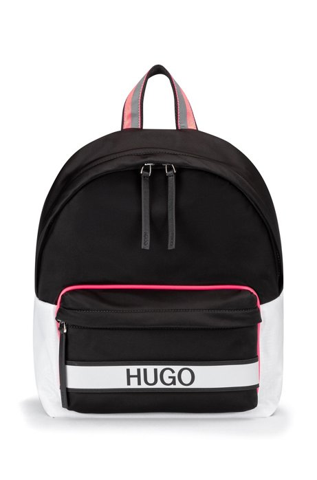 Logo backpack in nylon gabardine, Black