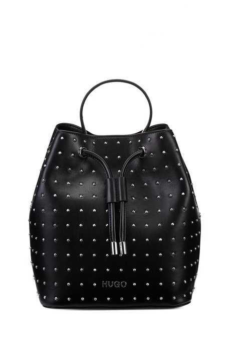 Faux-leather bucket bag with stud detailing, Black