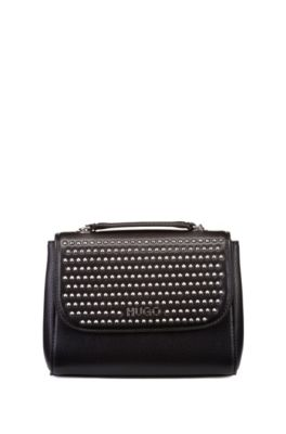 Mini bag in faux leather with stud detailing, Black