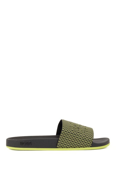 Italian-made slides with monogram-print strap, Black