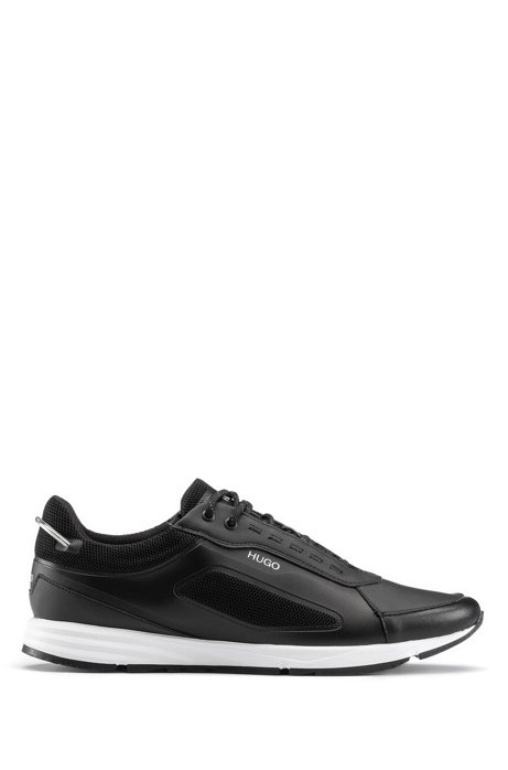 Running-style sneakers with iridescent elements, Black