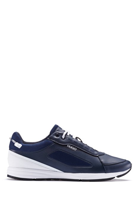 Running-style sneakers with iridescent elements, Dark Blue