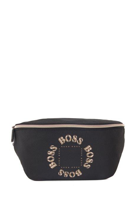 Belt bag with layered metallic logo, Black