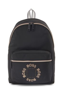 Structured-nylon backpack with layered metallic logo, Black
