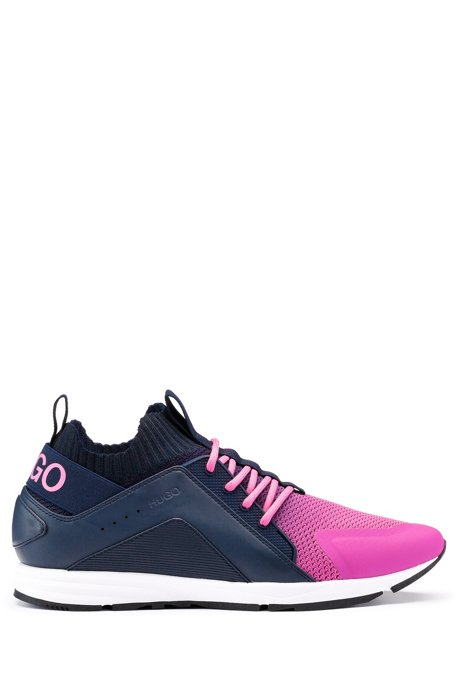 Logo sneakers with hybrid uppers and knitted sock, light pink