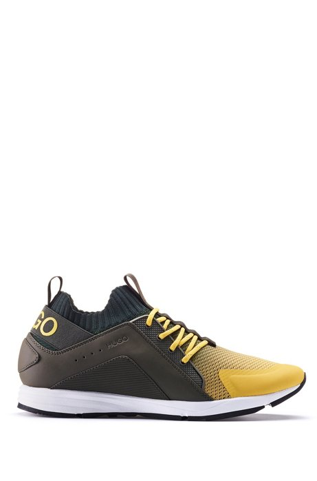 Logo sneakers with hybrid uppers and knitted sock, Light Yellow