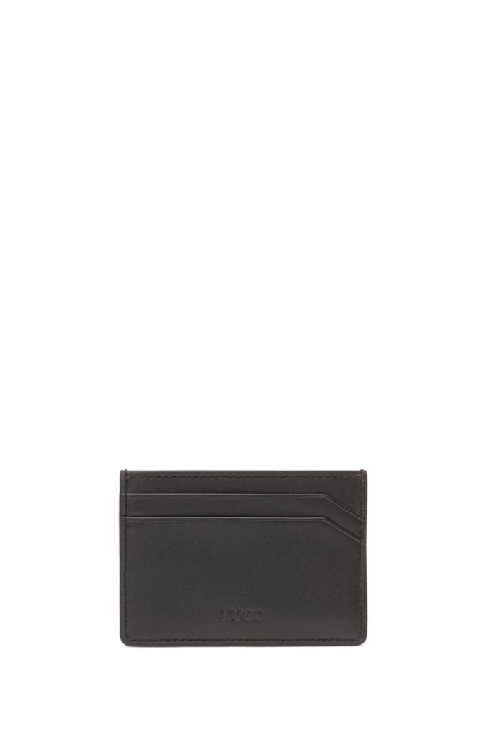 Leather card holder with collection logo print