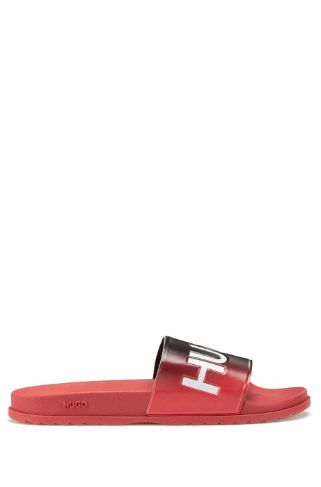 Dégradé-effect slides in rubber with logo details, Light Red