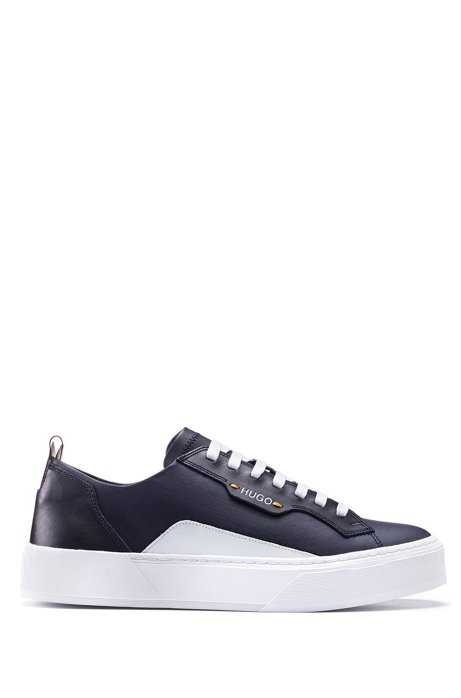 Tennis-inspired sneakers in coated fabric and calf leather, Dark Blue
