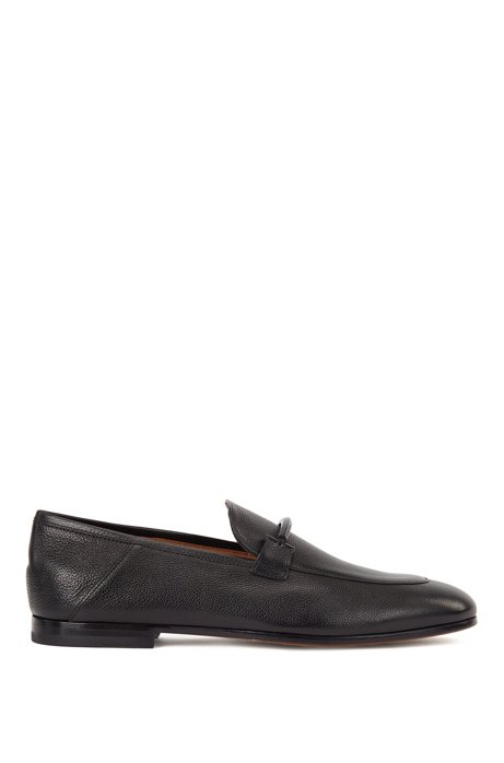 Italian-made loafers in grained leather with collapsible heel, Black