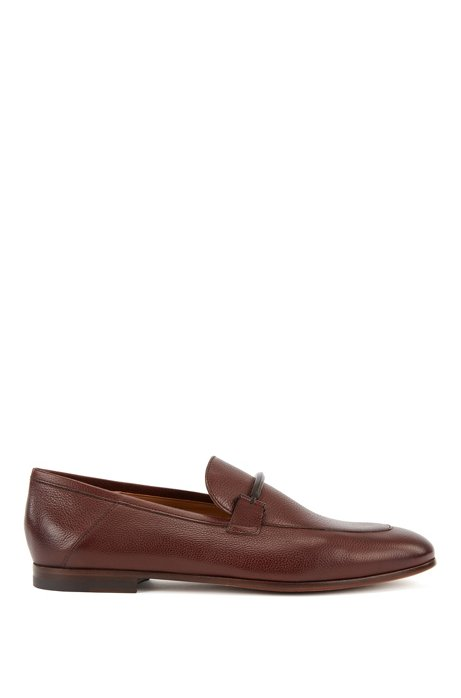 Italian-made loafers in grained leather with collapsible heel, Dark Brown