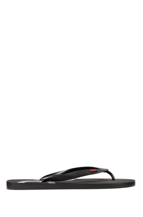 Rubber flip-flops with contrast logos, Black