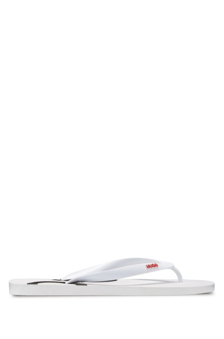 Rubber flip-flops with contrast logos, White