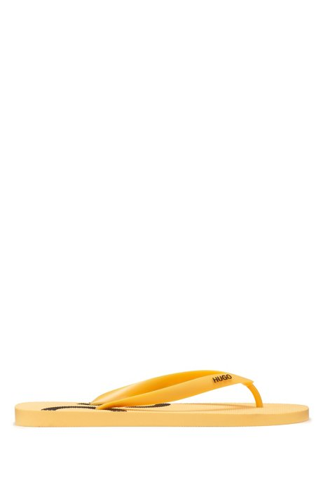 Rubber flip-flops with contrast logos, Open Yellow