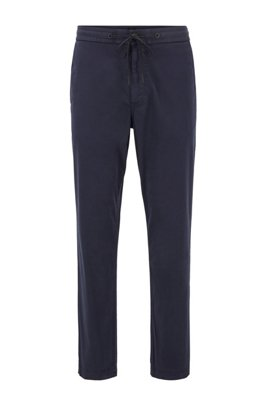 Tapered-fit drawstring pants in stretch-cotton twill, Dark Blue