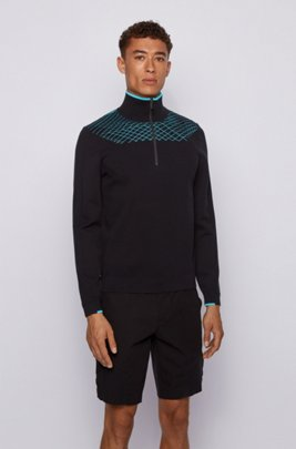 Zip-neck sweater with placement graphic pattern, Black