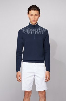 Zip-neck sweater with placement graphic pattern, Dark Blue
